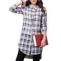 Elegant Women Button Plaid Asymmetrical Cotton Linen Shirt Blouse