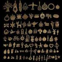 96Pcs Antique Bronze Pendant Keys Decorations Multi-Styling Metal Animal Plant Ornaments