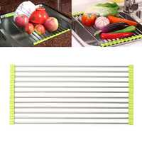 Stainless Steel Sink Dish Drying Roll Rack Fruit Vegetable Drainer Holder Shelf for Kitchen