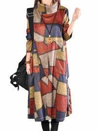 L-5XL Casual Women Loose Turtleneck Color Block Dress