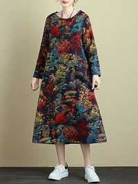 Plus Size Retro Women Floral Long Sleeve Dress