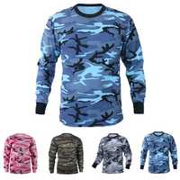 Mens Hunting Camo Tee T-shirts Long Sleeve Camouflage Shirt Sports Tops Pullover