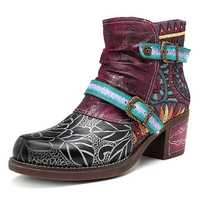 SOCOFY Genuine Leather Floral Pattern Zipper Ankle Boots
