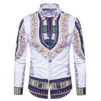National Pattern Printing Button up Men Chic Designer Shirts