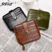 RFID Antimagnetic Genuine Oil-wax Leather Wallet
