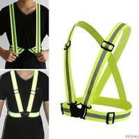 BIKIGHT Cycling High Visibility Adjustable Reflective Vest Running 360 Degrees Neon Reflective Belt