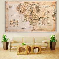 110x60CM Map of Middle Earth Lord of The Rings Silk Cloth Poster Home Decor