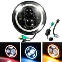 7inch H4 H13 DC10-30V LED Headlight Hi/Lo Halo Angel Eyes for Harley Jeep Wrangler
