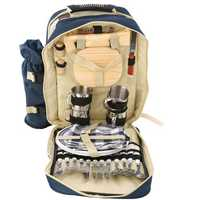 Outdoor 4 Persons Picnic Backapck Rucksack Portable Camping BBQ Lunch Bag With Tableware Set