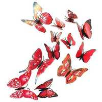 12Pcs 3D Butterfly Red Wall Stickers Art Decals Home Wedding Party Decoration