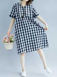 Women Embroidery Plaid Short Sleeves Dress with Pockets