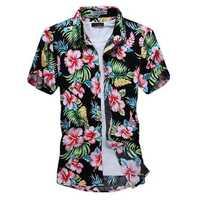 Summer Mens Fashion Flower Shirt Casual Slim Fit Short Sleeve Shirts