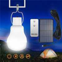 Portable Solar Powered LED Light Bulb Outdoor Emergency Camping Lamp with Remote Control