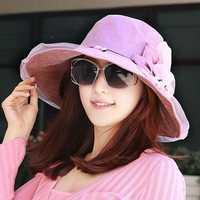 Women Vintage Wide Brimmed Beach Bucket Hat