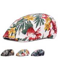 Unisex Flower Print Vogue Cotton Beret Hat