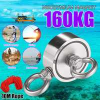 Double Side 48mm 160KG Neodymium Recovery Magnet With 10m Rope Salvage Tool Strong Recovery Fishing Kits
