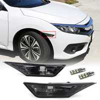Pair Smoked Side Marker Signal Lights Replacement with T10 LED Bulbs for Honda Civic 16-18