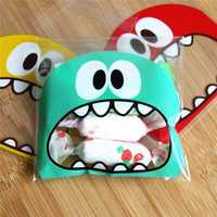 100Pcs Cute Big Teech Mouth Monster Plastic Self Sealing Bag Wedding Birthday Cookie Candy Gift Packing Bags