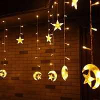 Christmas 6M 168 LED Light String Star Moon Shape Curtain Light 220V Home Decor Celebration Festival Wedding