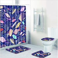 Bathroom Shower Curtains Toilet Cover Mat Non-Slip Rug Set Colorful