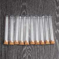 10Pcs 18*100mm Plastic Glass Test Tube With Cork Stopper Medical Lab Supplies