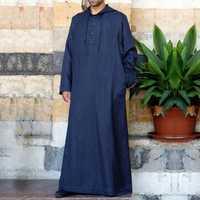 Men Vintage Long Tunic Style Shirts Loose Cotton Kaftan Tops