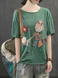 Women Casual Cartoon Round Neck Short Sleeve T-Shirts