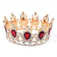 Bride Ruby Red Sparkling Crystal Rhinestone Crown Gold King Queen Tiara Wedding Party Headpiece