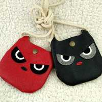 Kids Creative Crossbody Bags PU Leather Casual Handbag Cartoon Demon Coin Purse