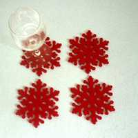 4 Pcs Christmas Snowflake Cup Coasters Cup Mat Cushion Holder Christmas Home Table Decor