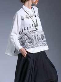 Plus Size Fashion Women Black and White Printed Shirts