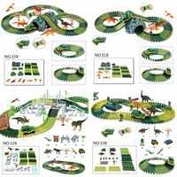 Dinosaur Dino World Childrens Flexible Race Car Track Toys Construction Play-Set Toy