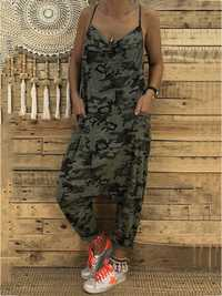Women Spaghetti Straps Camouflage Jumpsuit with Pockets