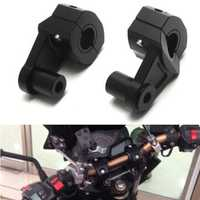 7/8 inch 22mm Motorcycle Handlebar Riser Handle Fat Bar Mount Clamps Bracket Black Aluminum
