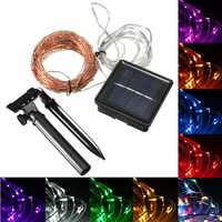 15M 150 LED Solar Powered Copper Wire String Fairy Light Christmas Party Decor