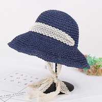 Women Summer Wide Brim UV Protection Beach Straw Hat Elegant Style Floppy Bucket Cap