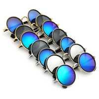 Men Women Vintage Sunglasses Colored Mirror Lens Steampunk Round Frame Glasses