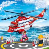 BanBao City Fire Helicopter Firefighters Building Blocks Toys Bricks Children Kids Toy Model