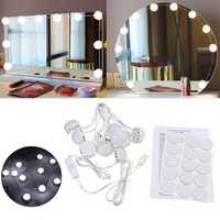 USB Powered DC5V 10 Bulb Dimmable LED String Light Mirror White Makeup Lamp Ambient Decor