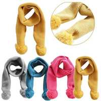 Winter Children Baby Boys Girls Knitted Neck Warm Scarf Wrap Ball Infant Kids Neck Wool Scarves Gift