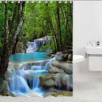 2x1.8CM Polyester 3D Waterfall Nature Scenery Bathroom Shower Curtain With Hooks