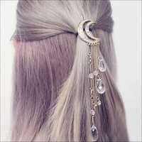 Trendy Rhinestone Tassels Crescent Stars Pendant Hairpin