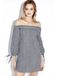 Sexy Plaid Off Shoulder 3/4 Sleeve Loose Women Mini Dress