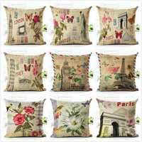 Honana 45x45cm Home Decoration Eiffel Tower Style Flowers Butterflies Pillow Case Cotton Linen Cushion Cover Home Sofa Car Decor