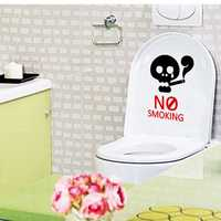 Honana BC-594 No Smoking Reminder Sign Removable PVC Toilet Seat Sticker Bathroom Wall Decoration