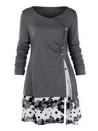 L-5XL Elegant Long Sleeve Floral Patchwork Mini Dress