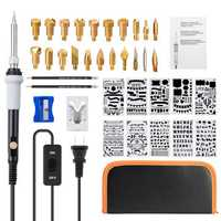 39 Pcs Temperature Adjustable Pyrography Pen Wood Burning Pyrography kit Soldering Tools