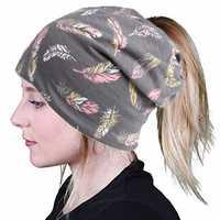 Women Vintage Bohemia Style Turban Hat Ponytail Beanie Caps
