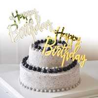 Acrylic Mirror Happy Birthday Gold & Silver Birthday Cake Topper Decorations