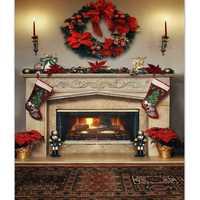 7x5ft Christmas Fireplace Photography Backdrop Vinyl Studio Background Photo Prop